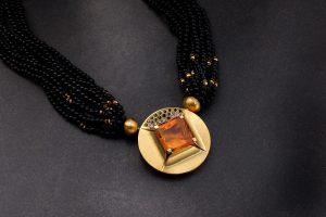 Wechselschließe 750/- Gold mit Citrin und schwarzen Diamanten