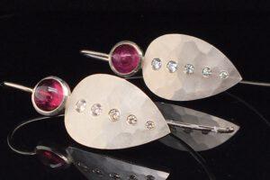 Ohrhänger Silber Turmalin Brillanten